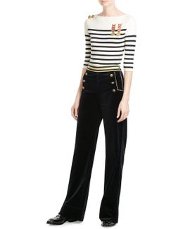 High-waisted Velvet Wide Leg Pants