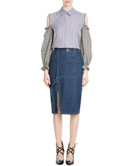 Denim Skirt With Cut-out Front