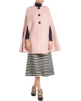 Wool Cape With Mohair