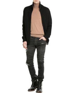 Zipped Knit Cardigan