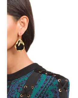18kt Yellow Gold Plated Earrings With Onyx