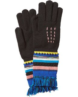 Wool Gloves With Striping And Fringe