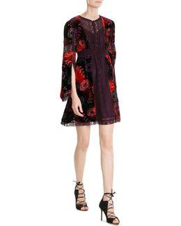 Velvet Dress With Lace Trims