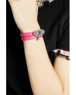 Leather Wrap Around Bracelet With Embellishment