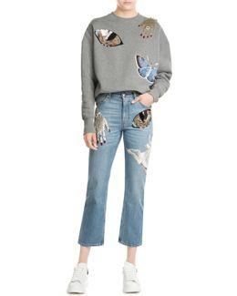 Embellished Cropped Jeans