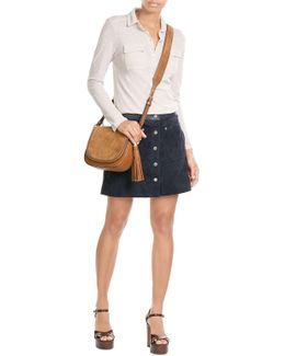 Suede Shoulder Bag With Leather