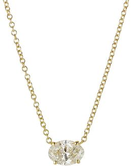 Pear Cut Diamond Necklace In 18k Yellow Gold