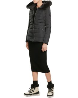 Quilted Down Jacket With Fur-trimmed Hood