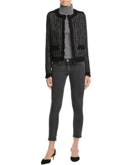 Metallic Knit Jacket With Fringe Trim