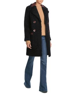 Shearling Coat With Contrast Trim