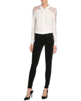 Stretch Cotton Skinny Velvet Pants