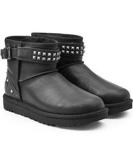 Neva Studs Leather Boots With Shearling