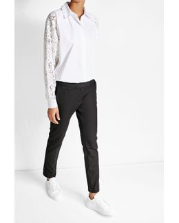 Cotton Shirt With Lace Sleeves