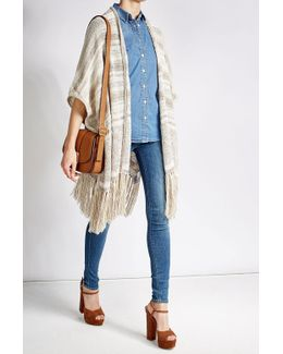 Fringed Cardigan With Cotton, Silk And Linen