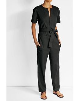 Tie-waist Jumpsuit With Cotton And Linen