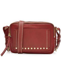 Leather Shoulder Bag With Stud Embellishment