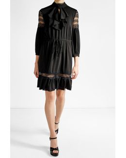 Crepe Dress With Lace Panels