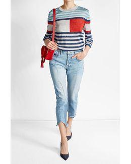Striped Metallic Pullover