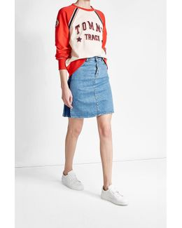 Cotton Sweatshirt With Varsity Patches