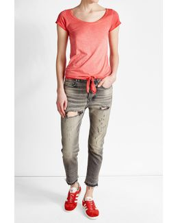 Tie-front T-shirt With Cotton
