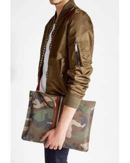 Rockstud Camouflage Printed Pouch With Leather