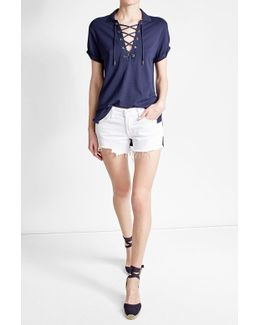 Lace-up Polo Shirt With Cotton