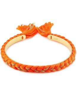 18k Gold Plated Bangle With Cotton Braid