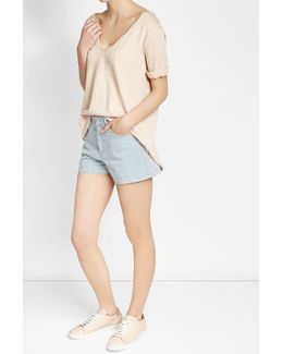 Cotton T-shirt With High-low Hemline