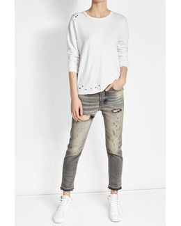Embellished Top With Cotton And Linen
