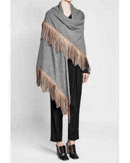 Fringed Cape With Wool And Camel Hair