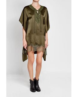 Silk Poncho With Lace