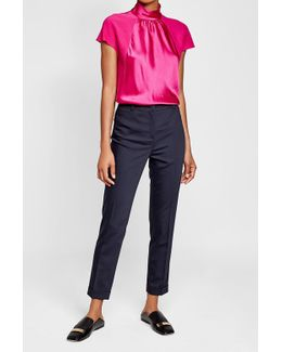 Satin Blouse With Cap Sleeves