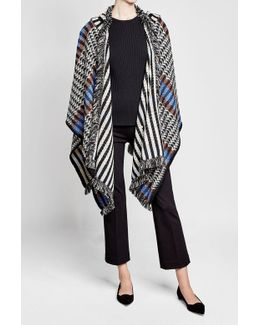 Fringed Wool Cape With Cashmere