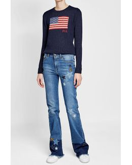 Flared Jeans With Star Patches