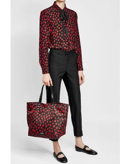 Printed Tote With Leather