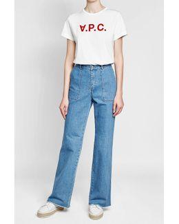 Wide-leg Fringed Jeans