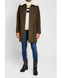Cotton Parka With Faux-shearling Collar