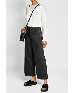 Wide Leg Jeans With Lace Up Sides