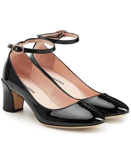 Patent Leather Pumps With Ankle Straps
