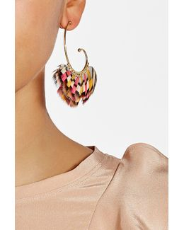 Buzios 24k Gold Plated Earrings With Feathers