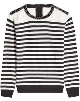 Striped Wool Pullover With Embellishment