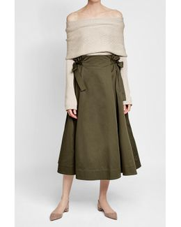 Cotton Midi Skirt With Knotted Sides