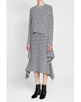Printed Cotton-blend Skirt With Handkerchief Hem