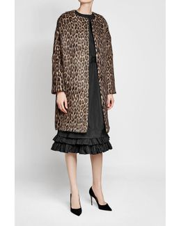 Leopard Print Coat With Wool And Alpaca