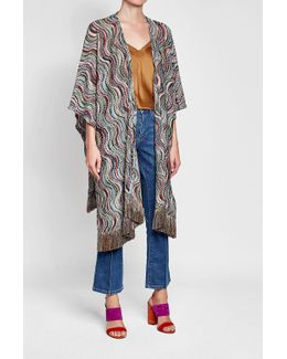 Printed Cape With Fringe