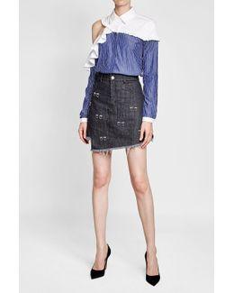 Distressed Denim Skirt With Embellishment