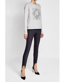 Embroidered Cotton Sweatshirt With Pleated Hem