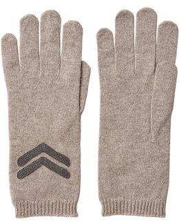 Cashmere Gloves With Bead Embellishment