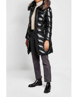 Albizia Fur Trim Laqué Nylon Down Coat
