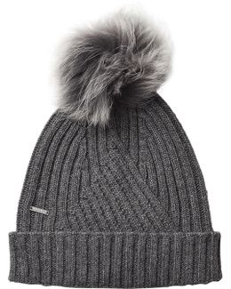 Hat With Wool, Cashmere And Raccoon Fur Pompom